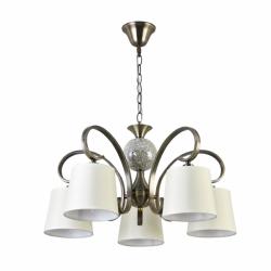 lampara concordia 5 luces cuero pantalla beis