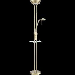 LAMPARA PIE LED REGULABLE CON MESA Y USB, CUERO
